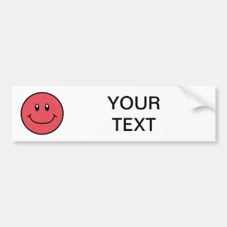 Smiling Face Bumper Sticker Red 0001