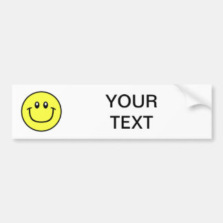 Smiling Face Bumper Sticker Yellow 0003