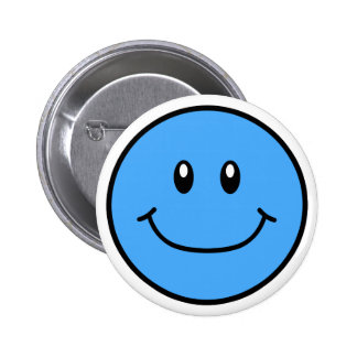Smiling Face Button Blue 0001