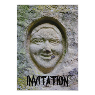 Smiling Face Engraving in Stone Invitation