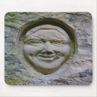 Smiling Face Engraving in Stone Mouse Pad