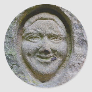Smiling Face Engraving in Stone Sticker
