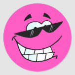 Smiling Face in Shades Round Stickers