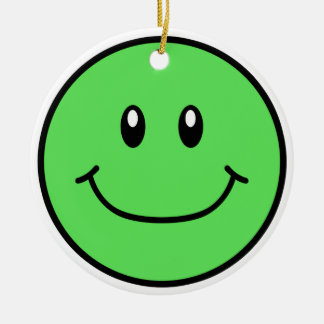 Smiling Face Ornament Green 0001
