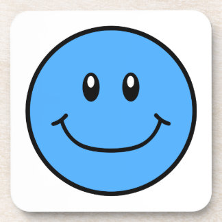 Smiling Face Plastic Coasters Blue 0001