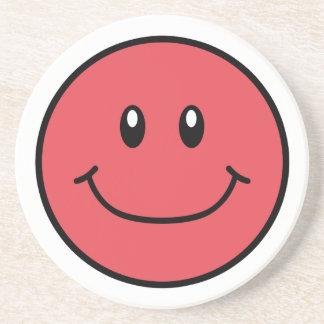 Smiling Face Sandstone Coaster Red 0001