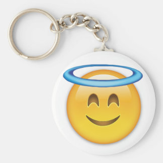 Smiling Face With Halo Emoji Basic Round Button Keychain