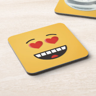 Smiling Face with Heart-Shaped Eyes Beverage Coaster