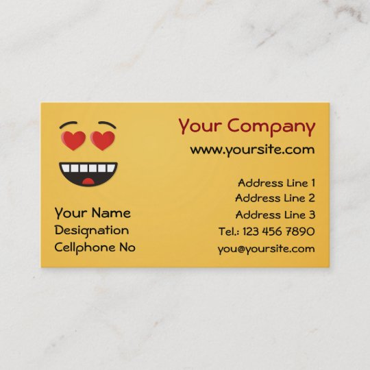 Smiling Face With Heart Shaped Eyes Business Card Zazzle