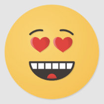 Smiling Face with Heart-Shaped Eyes Classic Round Sticker
