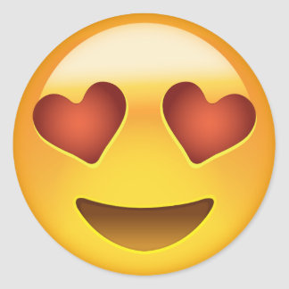 Smiling Face With Heart Shaped Eyes Emoji Classic Round Sticker