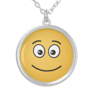 Smiling Face with Open Eyes Silver Plated Necklace