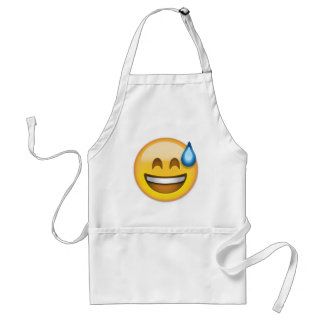 Smiling Face With Open Mouth And Cold Sweat Emoji Adult Apron