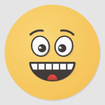 Smiling Face with Open Mouth Classic Round Sticker