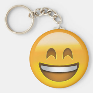 Smiling Face With Open Mouth & Smiling Eyes Emoji Basic Round Button Keychain