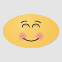 Smiling Face with Smiling Eyes Oval Sticker
