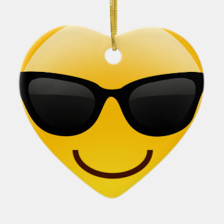 Smiling Face With Sunglasses Cool Emoji Ceramic Ornament