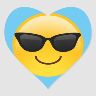 Smiling Face With Sunglasses Cool Emoji Heart Sticker