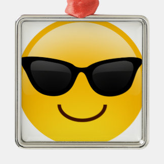 Smiling Face With Sunglasses Cool Emoji Metal Ornament
