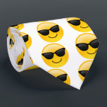 """Smiling Face With Sunglasses Cool Emoji tie<br><div class=""""desc"""">A face smiling and wearing dark sunglasses. Is used to denote a sense of cool. Emoji fun for all.</div>"""