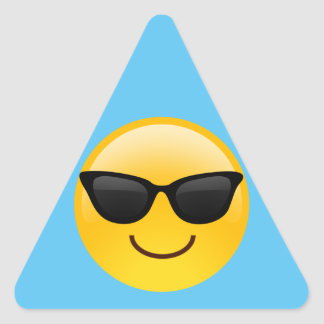 Smiling Face With Sunglasses Cool Emoji Triangle Sticker