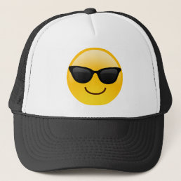 Smiling Face With Sunglasses Cool Emoji Trucker Hat