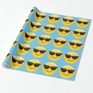 Smiling Face With Sunglasses Cool Emoji Wrapping Paper