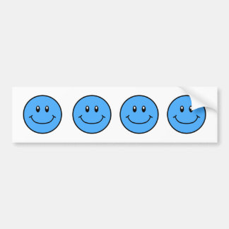 Smiling Faces Bumper Sticker Blue 0001