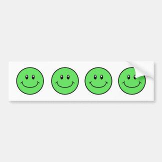 Smiling Faces Bumper Sticker Green 0001