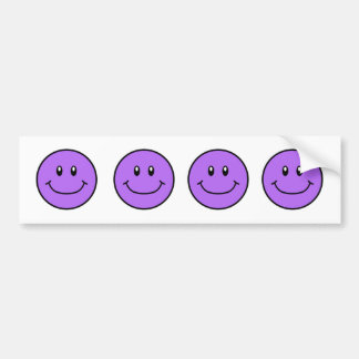 Smiling Faces Bumper Sticker Purple 0001