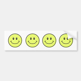 Smiling Faces Bumper Sticker Yellow 0001