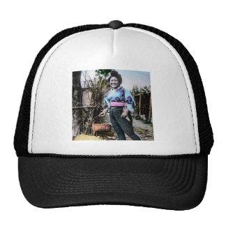 Smiling Farm Girl in Old Japan Vintage Japanese Trucker Hat