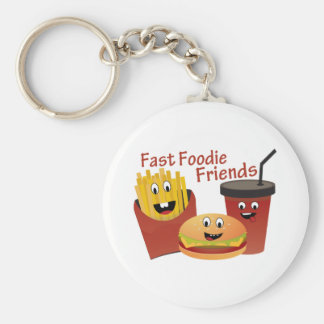 Smiling Fast Foodie Friends Basic Round Button Keychain