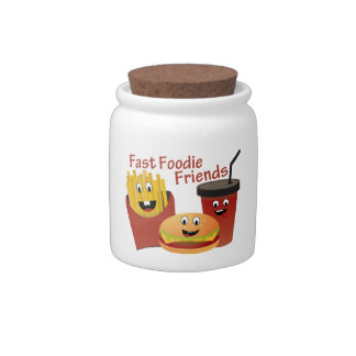 Smiling Fast Foodie Friends Candy Jar