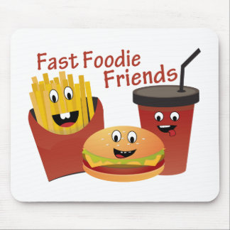 Smiling Fast Foodie Friends Mouse Pad