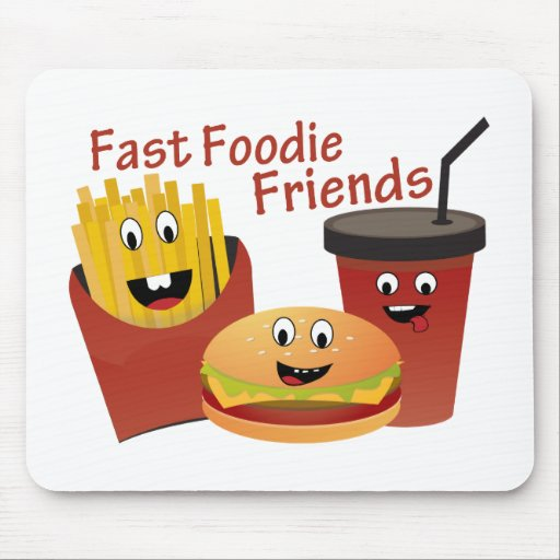 Smiling Fast Foodie Friends Mousepads