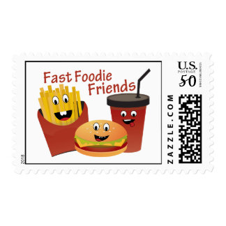 Smiling Fast Foodie Friends Postage