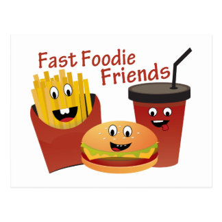 Smiling Fast Foodie Friends Postcard