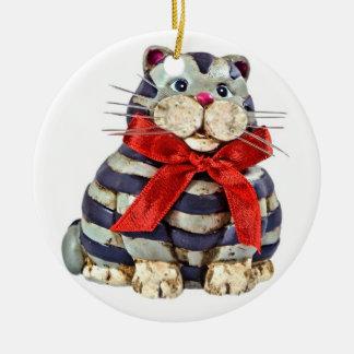 Smiling Fat Cat Ceramic Ornament