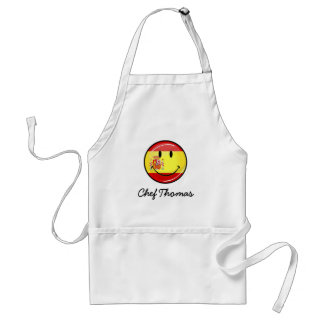 Smiling Flag of Spain Adult Apron