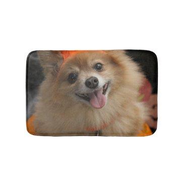 Halloween Themed Smiling Foxy Pomeranian Puppy in Pumpkin Halloween Bath Mat