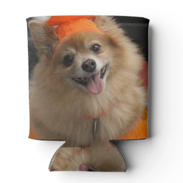 Halloween Themed Smiling Foxy Pomeranian Puppy in Pumpkin Halloween Can Cooler