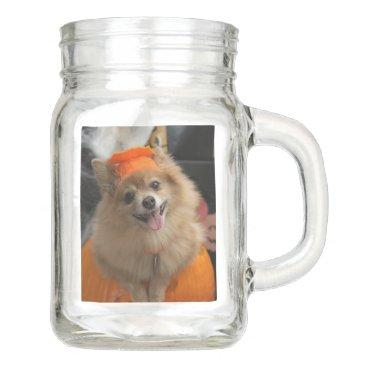 Halloween Themed Smiling Foxy Pomeranian Puppy in Pumpkin Halloween Mason Jar