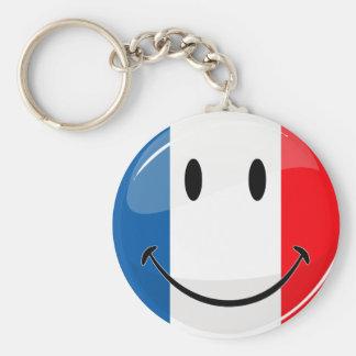Smiling French Flag Keychain