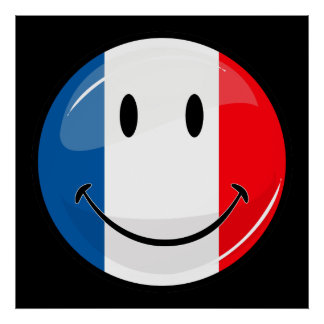 Smiling French Flag Poster