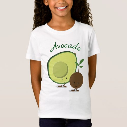 Smiling Friendly Avocado Cartoon Charactes T_Shirt