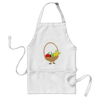 Smiling fruit and vegetable basket character adult apron