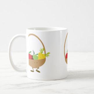 Smiling fruit and vegetable basket character coffee mug
