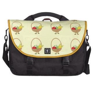 Smiling fruit and vegetable basket character laptop bag