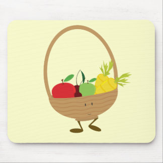 Smiling fruit and vegetable basket character mouse pad